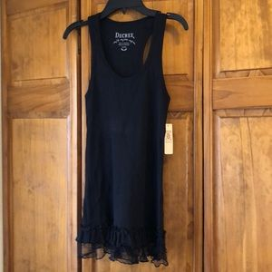 NWT Decree Black Ribbed Tank with Ruffle Lace Trim